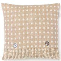BRONTE by Moon Cushion -Beige & Cream Classic Spot Merino Lambswool