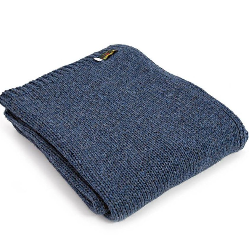 Tweedmill Knitted Soft Alpaca Mix Throw in Blue Slate