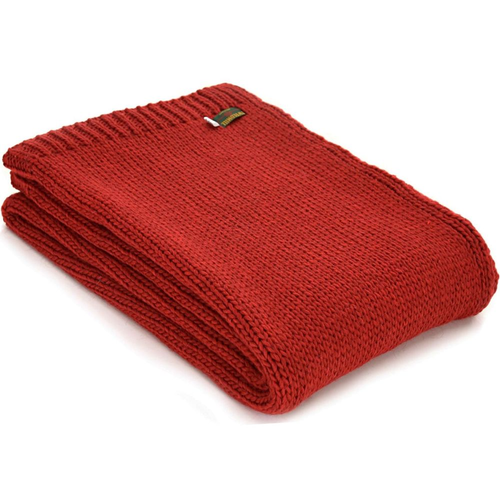 Tweedmill Knitted Soft Alpaca Mix Throw in Winter Red