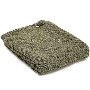 Tweedmill Knitted Soft Alpaca Mix Throw in Rich Green