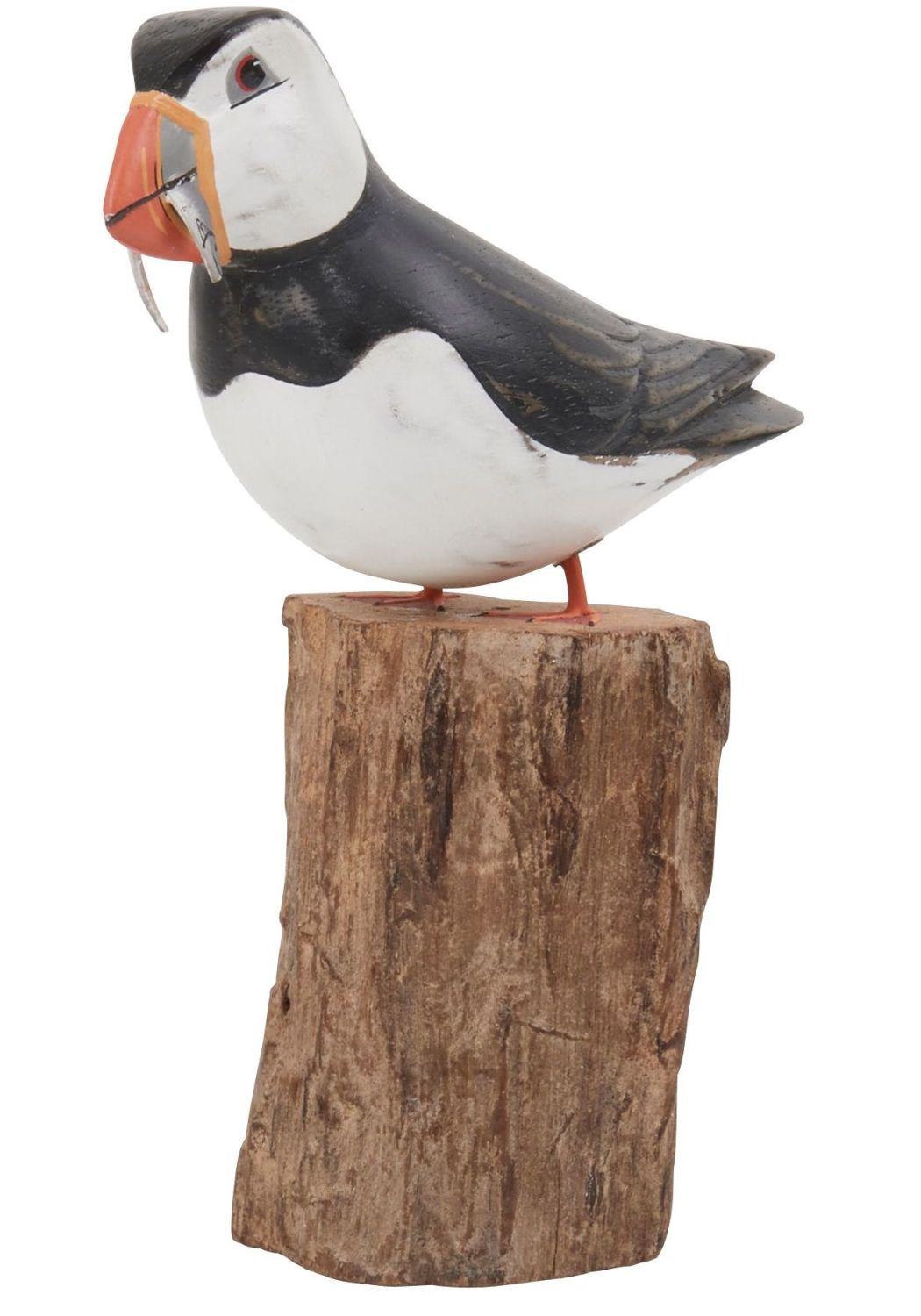 Archipelago Puffin with Fish Small Bird Wood Carving