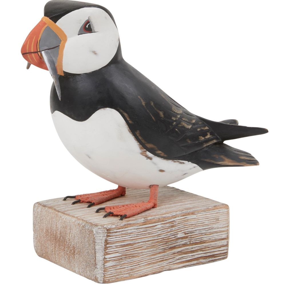 Archipelago Puffin with Fish Large Bird Wood Carving