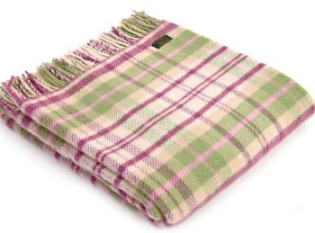 Tweedmill Country Cottage Check Pink Knee Rug or Small Blanket Pure New Wool