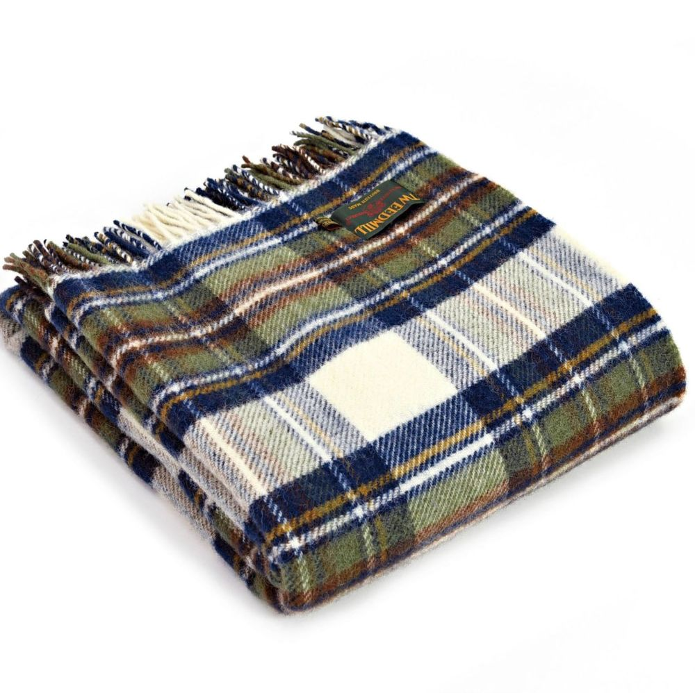 Tweedmill Muted Blue Dress Stewart Tartan Check Picnic / Throw / Travel Rug