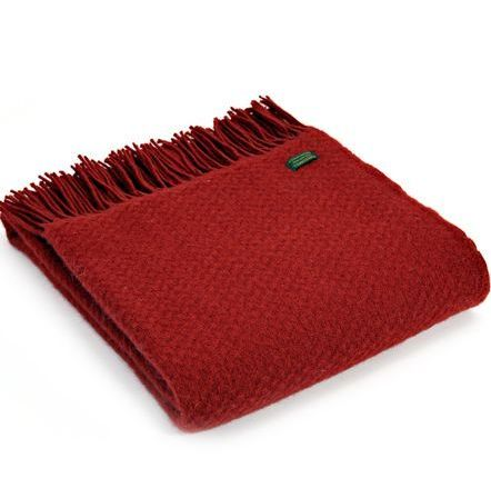 Tweedmill Plain Weave Winter Red Throw Blanket Pure New Wool