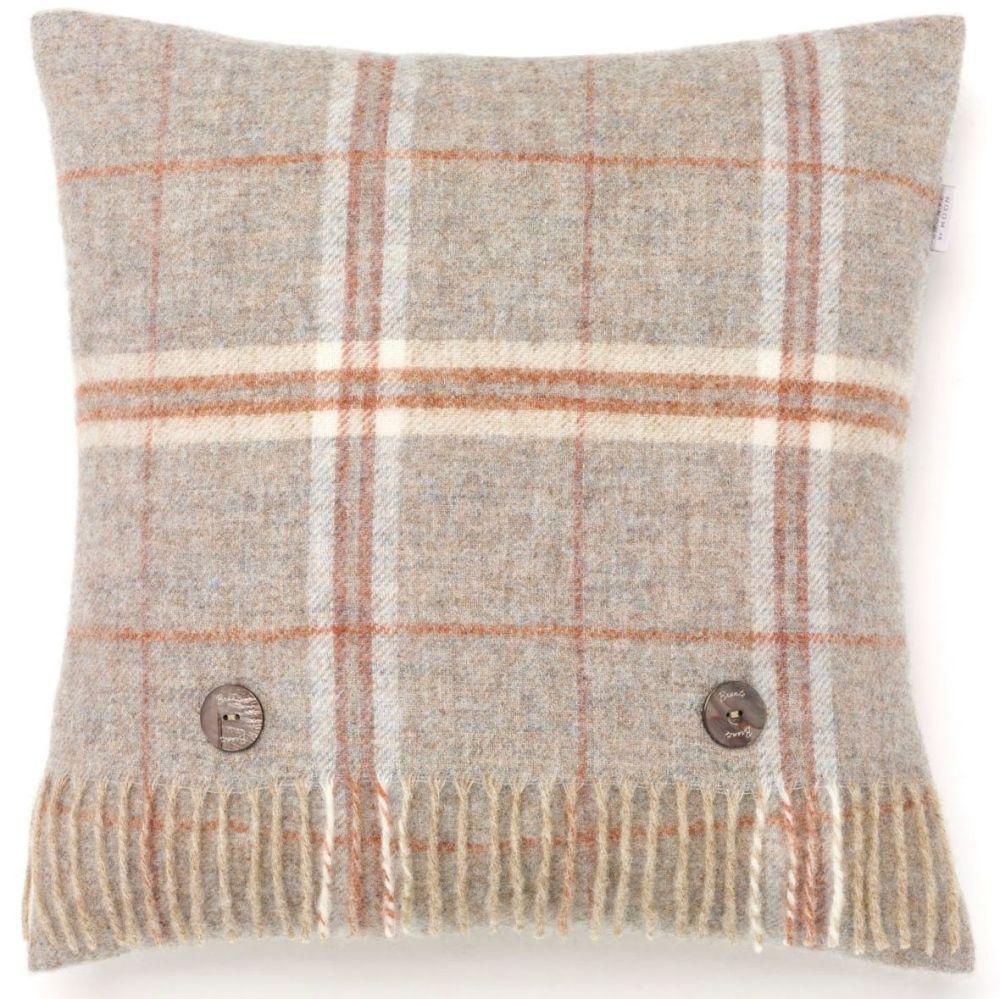 BRONTE by Moon Cushion - Windowpane Beige Sandstone Shetland Wool