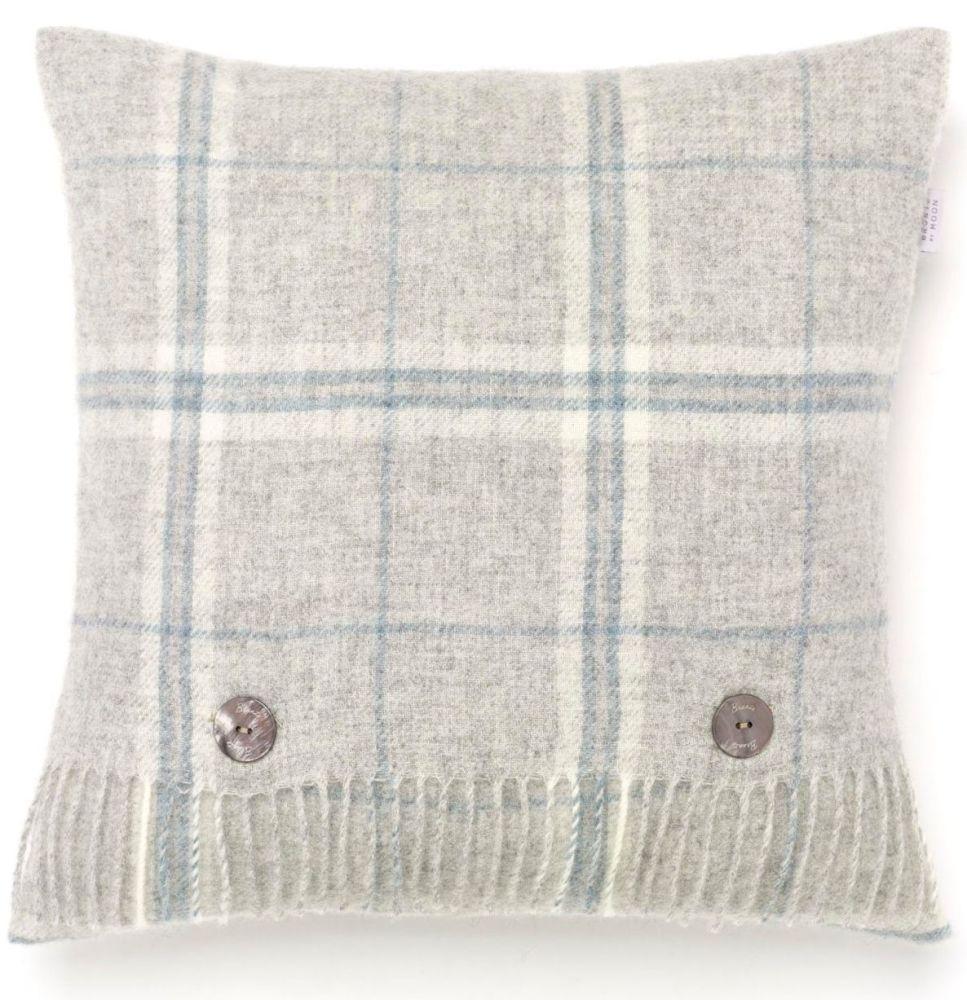 BRONTE by Moon Cushion - Windowpane Grey Slate Shetland Wool