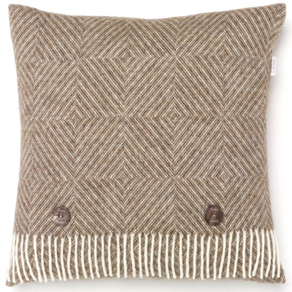 BRONTE by Moon Cushion - Natural Diamond Herringbone Beige Merino Lambswool