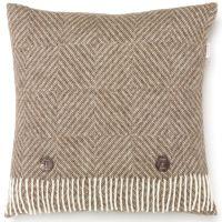 BRONTE by Moon Cushion - Natural Diamond Herringbone Beige Merino Lambswool *NEW*