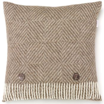 BRONTE by Moon Cushion - Natural Diamond Herringbone Beige Merino Lambswool *NEW*