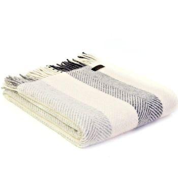 Tweedmill Herringbone Stripe Charcoal/Grey/Cream Pure New Wool Throw Blanket