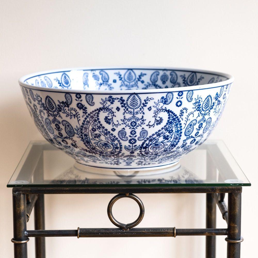 Large Ceramic Decorative Bowl / Fruit Bowl Blue & White