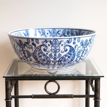 Large Ceramic Decorative Bowl / Fruit Bowl Blue & White