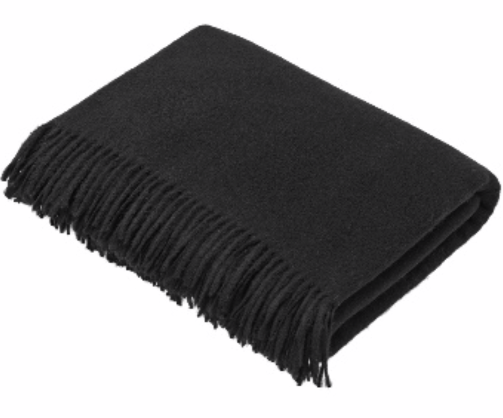 BRONTE by Moon Charcoal Black Plain Weave Throw in Supersoft Merino Lambswo