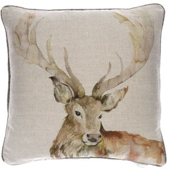 Voyage Gregor Stag Square Country Cushion - 50 x 50 cm