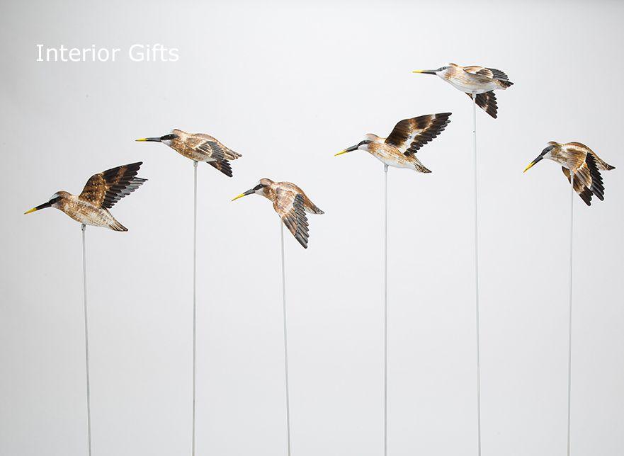 Archipelago Metal Dunlin Flock  - Six Dunlin Birds in Flight Wood Carving