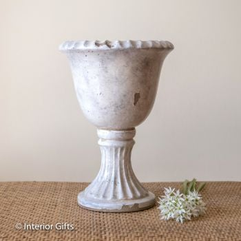 Footed Urn in Old White - Plant Pot - Small