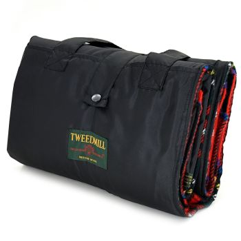 WATERPROOF Backed Wool Burghley Picnic Rug Classic Red Tartan with Integral Carry Strap