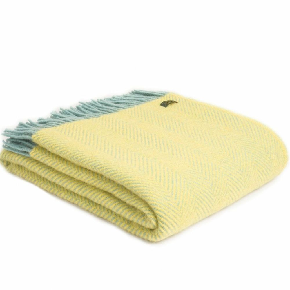 Tweedmill Lemon & Ocean Herringbone Knee Rug or Small Blanket Throw Pure Ne