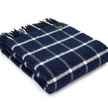 Tweedmill Classic Check Navy & Chalk Windowpane Knee Rug or Small Blanket Pure New Wool