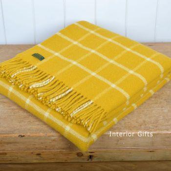 Tweedmill Classic Check Yellow & Chalk Windowpane Knee Rug or Small Blanket Pure New Wool