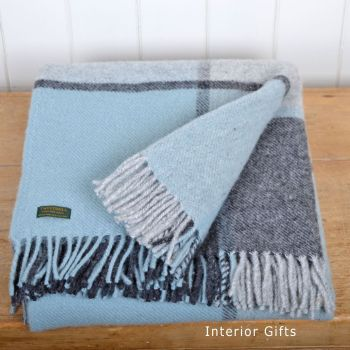Tweedmill Multi Check Duck Egg Blue & Grey Knee Rug or Small Blanket Pure New Wool