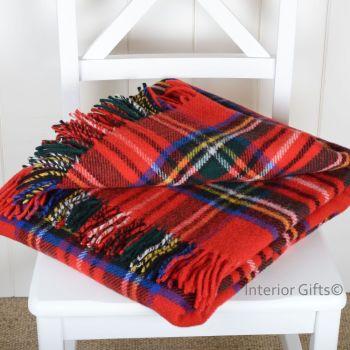 Tweedmill Tartan Royal Stewart Red Knee Rug or Small Blanket Pure New Wool