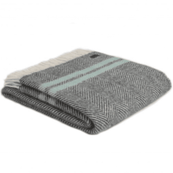 Tweedmill Slate Grey and Ocean Herringbone Stripe Pure New Wool Throw Blanket