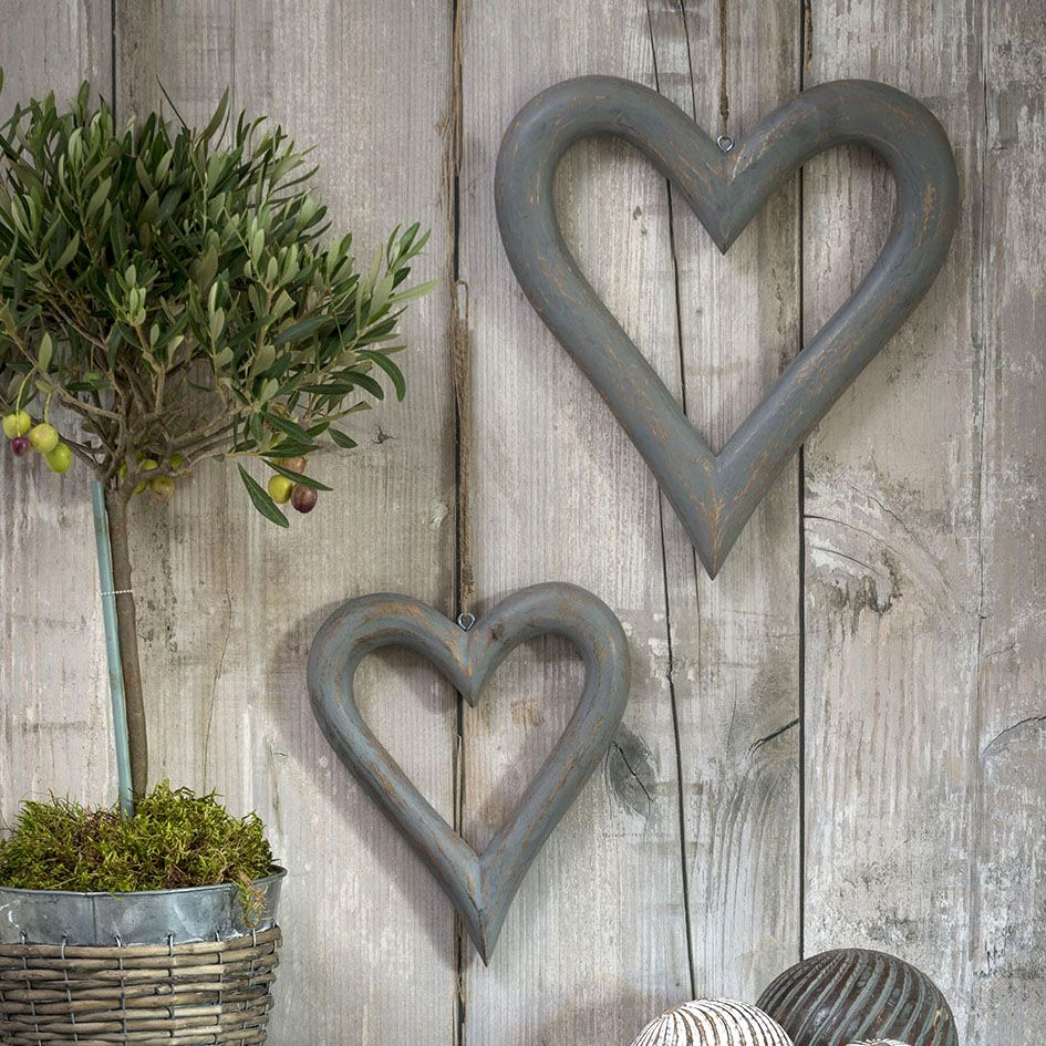 Pair of Decorative Grey Wooden Hanging Hearts - Large