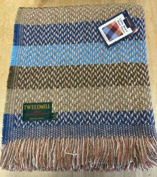 Tweedmill Recycled Celtic Woollen LARGE Throw / Blanket / Picnic Rug  - Navy/Blue/Olive Mix
