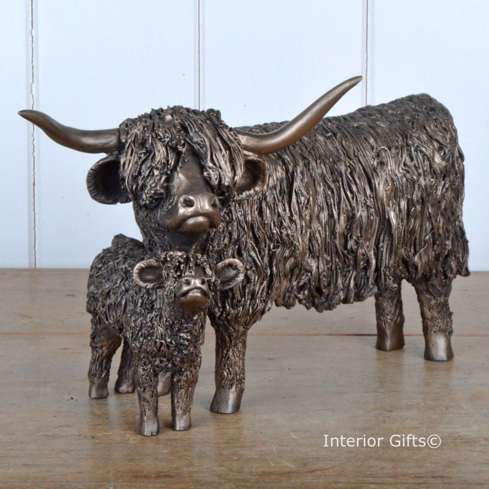 HIGHLAND COW AND CALF Standing  Frith Bronze Sculpture by Veronica Ballan