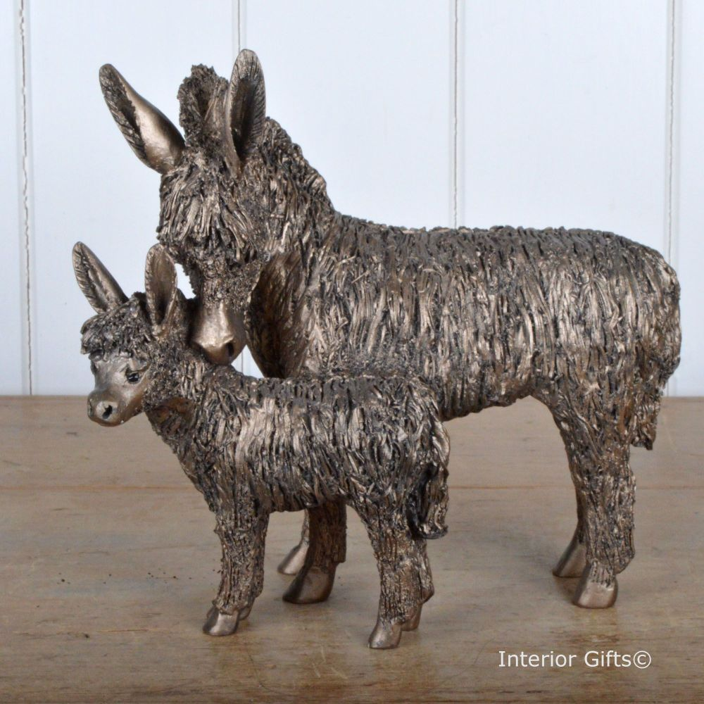 Donkey and Foal Standing Frith Bronze Sculpture by Veronica Ballan