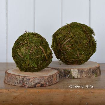 Decorative Moss Ball with Twigs Pair - 11 &15 cm