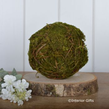 Decorative Moss Ball with Twigs  - 15 cm