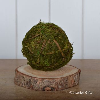 Decorative Moss Ball with Twigs  - 11 cm