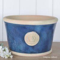 Kew Low Planter Pot Indigo Blue - Royal Botanic Gardens Plant Pot - Large