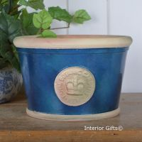 Kew Low Planter Pot indigo Blue - Royal Botanic Gardens Plant Pot - Medium