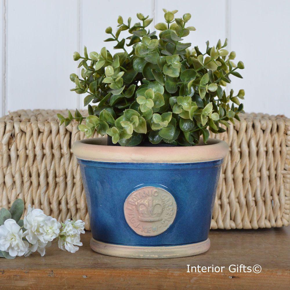 Kew Low Planter Pot Indigo Blue - Royal Botanic Gardens Plant Pot - Small