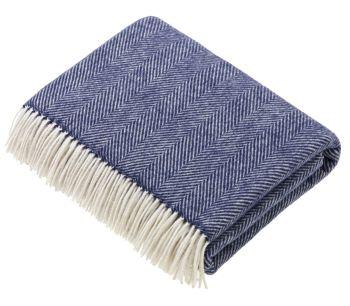 BRONTE by Moon Variegated Herringbone Navy Blue Throw in super soft Merino Lambswool *NEW*