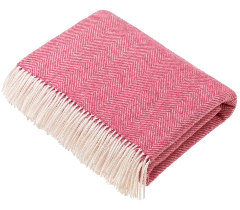 BRONTE by Moon Herringbone Cerise Pink Throw in super soft Merino Lambswool