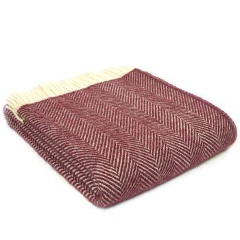 Tweedmill Rosewood Plum Herringbone Pure New Wool Throw Blanket