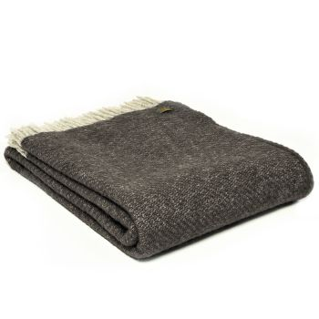 Tweedmill Charcoal Grey Boa Pure New Wool  Large Throw Blanket