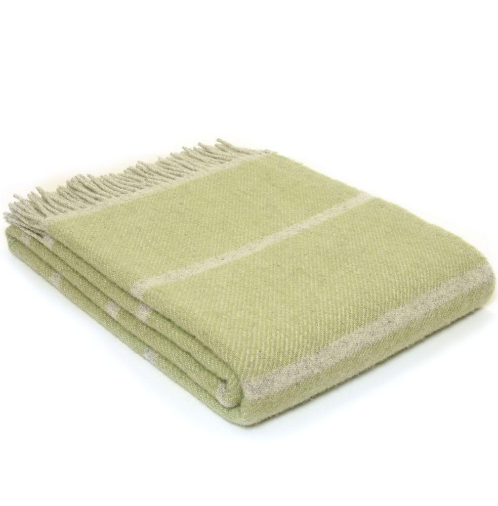 Tweedmill Broad Stripe Fern Green Pure New Wool Throw / Blanket