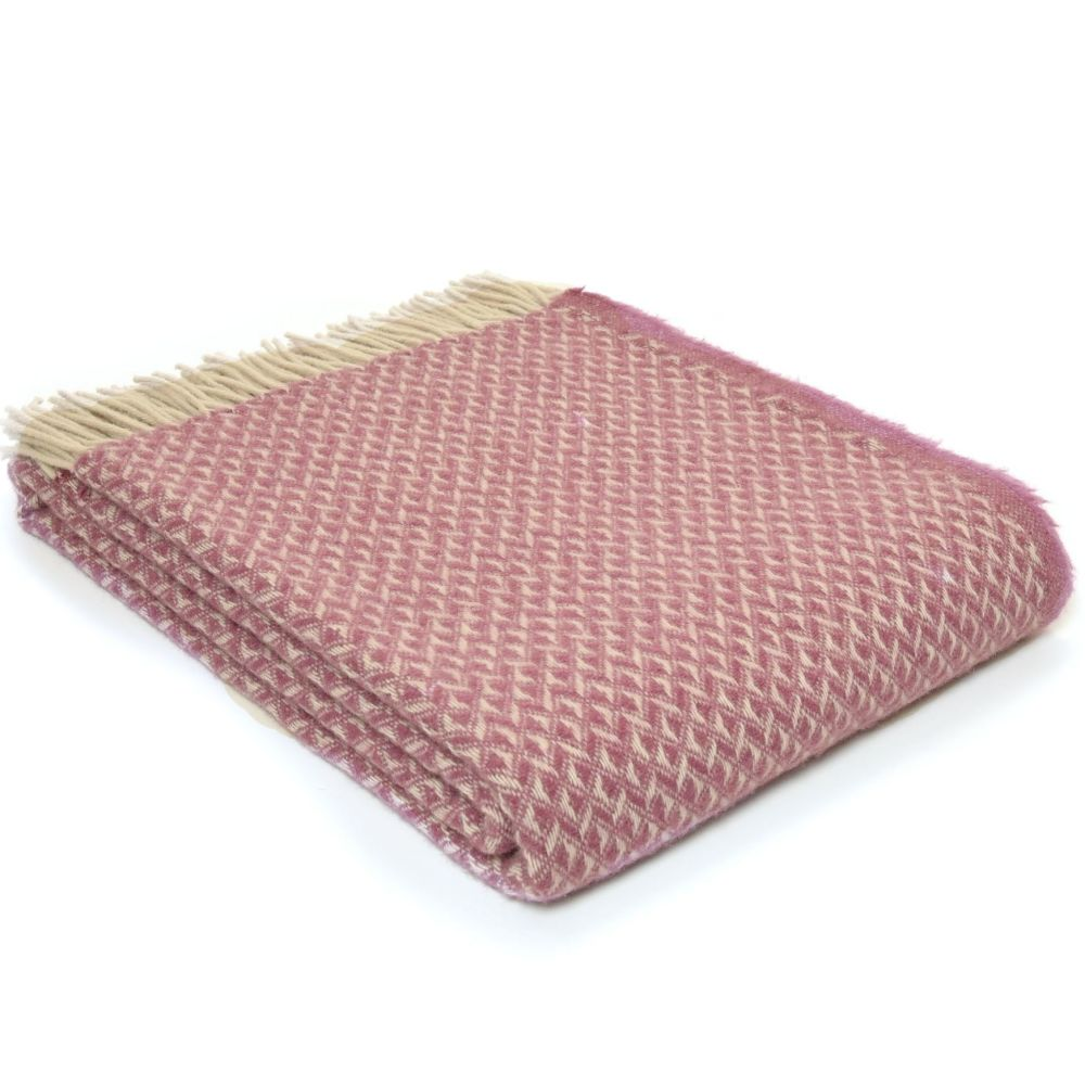 Tweedmill Diamond Mulberry Pure New Wool Throw / Blanket