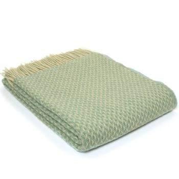 Tweedmill Diamond Sea Green Pure New Wool Throw / Blanket