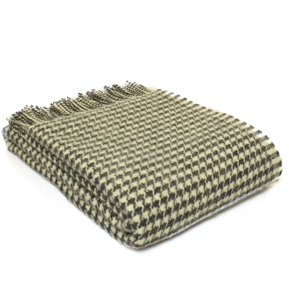 Tweedmill Houndstooth Charcoal Pure New Wool Throw / Blanket