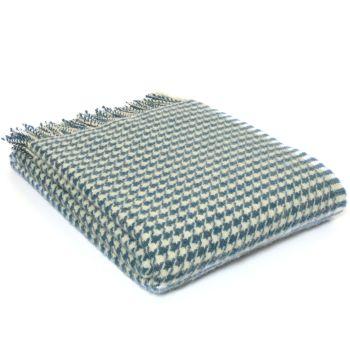 Tweedmill Houndstooth Ink Blue Pure New Wool Throw / Blanket