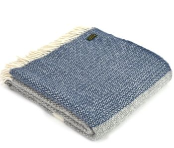Tweedmill Blue Slate and Grey Colour Band Knee Rug or Small Blanket Throw Pure New Wool