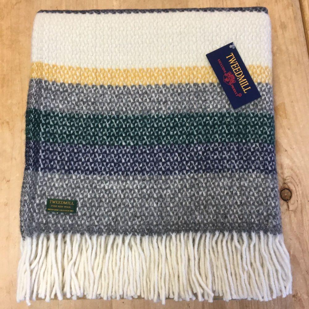 Tweedmill Nightfall Stripe Ascot Pure New Wool Throw Blanket