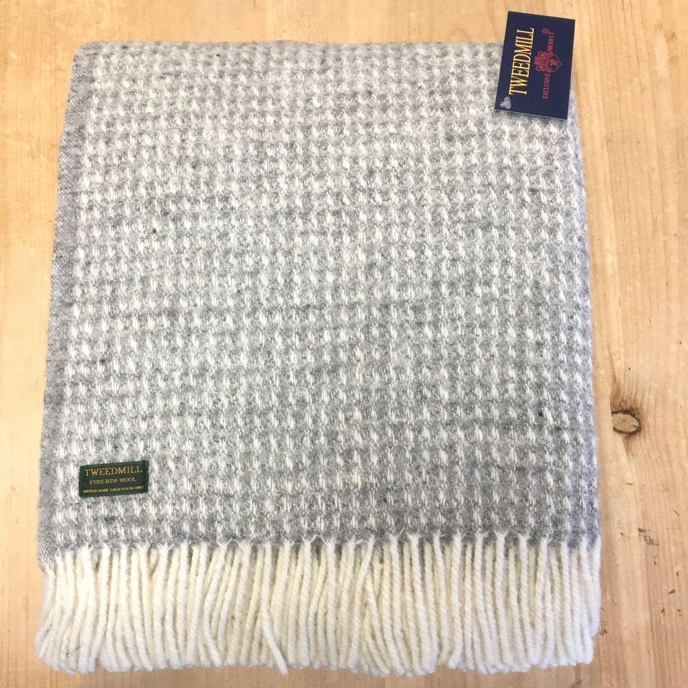 Tweedmill Soft Waffle Grey Pure New Wool Large Throw or Blanket